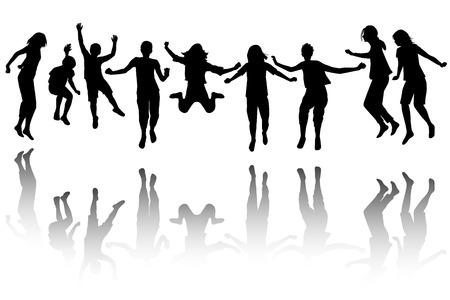 bewegung menschen: Gruppe von schwarzen Kindern Silhouette Springen