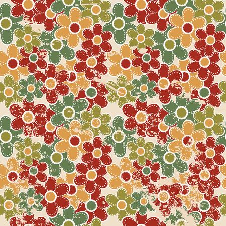 vintage colors: Grunge floral seamless in vintage colors