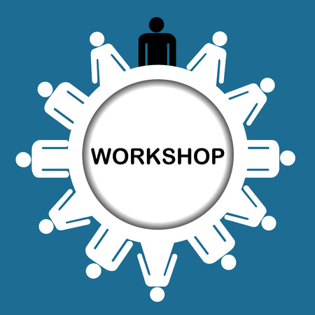 workshop seminar: Illustration of workshop icon isolated over white background Illustration