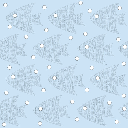 patterned: Stylized patterned fishes seamless background