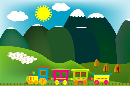 Mountain landscape with cartoon train and flock of sheeps Vector