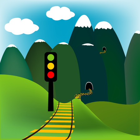 ligh: Mountain landscape with railway and traffic light Illustration