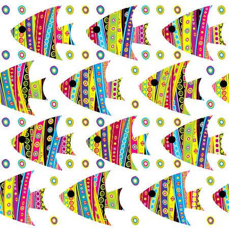 simetry: Patterned fishes seamless, template for your design and decoration