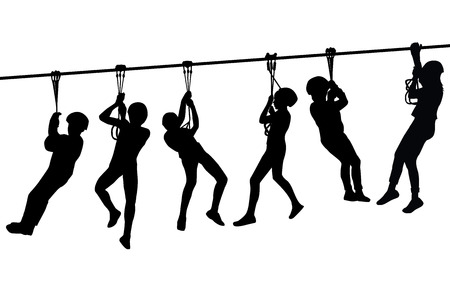 overhang: Silhouettes of children playing with a tyrolean traverse