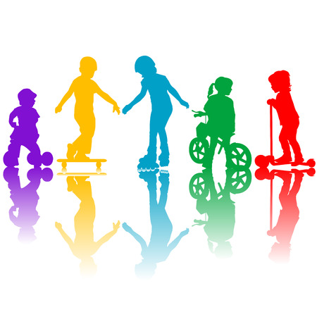 little skate: Colored silhouettes of active kids playing