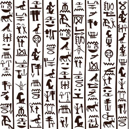 검은 색과 흰색 이집트 상형 문자 배경 일러스트