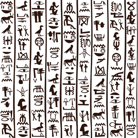 Black and white Egyptian hieroglyphics background Vectores