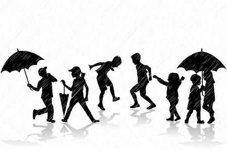 Children silhouettes enjoy the rain Illustration