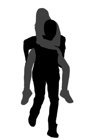 Silhouettes of young male carrying his girlfriend piggyback against a white background Illustration