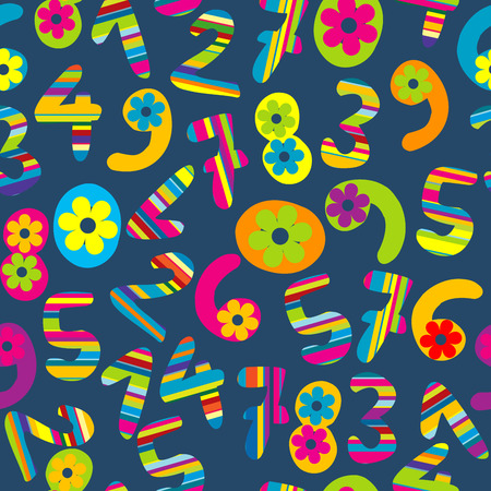 Abstract background with funny cartoon numbers