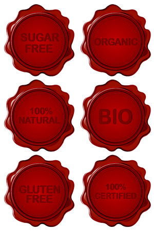substitute: Set of wax seal with healthy messages - gluten free, sugar free, organic , natural, certified, bio Illustration