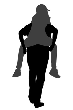 woman back: Young male carrying his girlfriend piggyback over white background