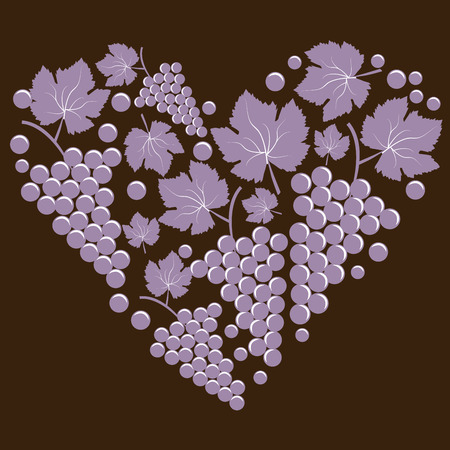 vitis: Bunch of grapes in the form of heart Illustration