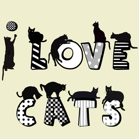 i kids: I love card card with cats silhouettes
