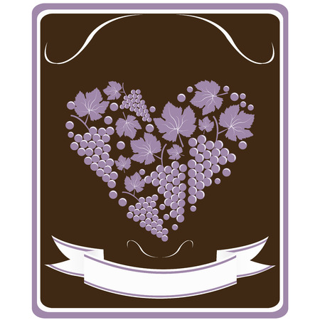 wine growing: Label for a bottle of wine with grapes  in the form of heart Illustration