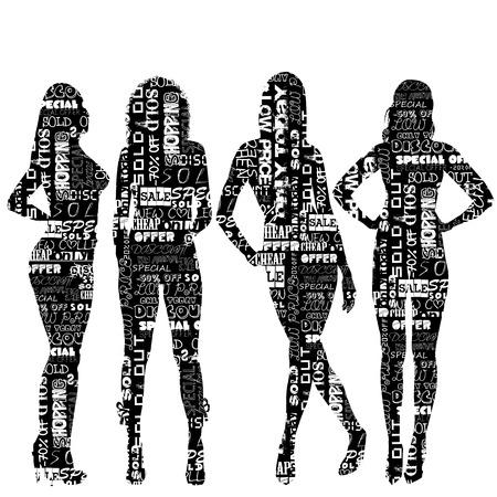 siluetas mujeres: Conjunto de siluetas de las mujeres con dibujos con mensajes de venta