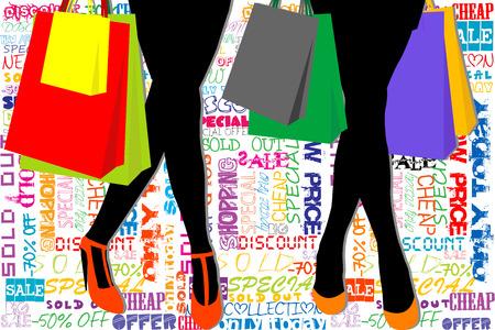 siluetas mujeres: Plantilla de la compra con las mujeres siluetas con las compras