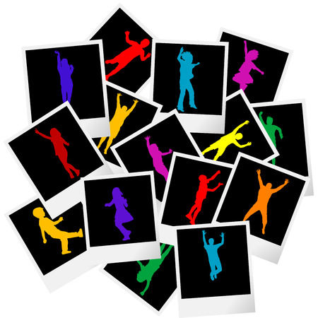 old photograph: A pile of photo frames with colored children silhouettes Stock Photo