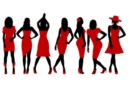 Collection of women silhouettes in red dress posing in fashion style