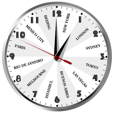 travel agencies: Wall clock with popular city names from the world for travel agencies