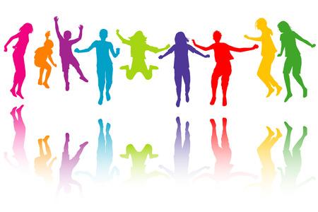 play: Conjunto de los niños coloridos siluetas de salto