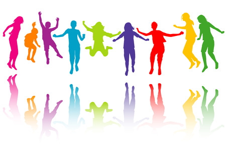 hand colored: Set of colorful children silhouettes jumping