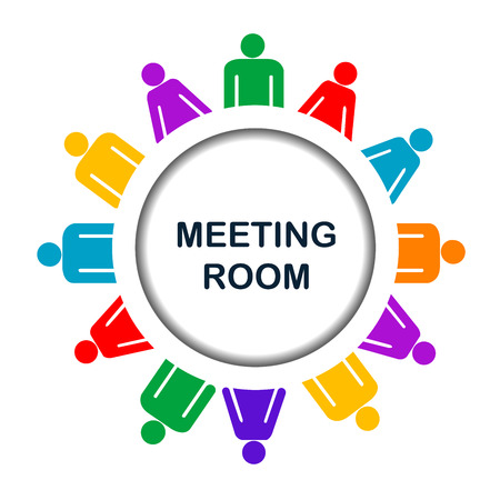 meeting place: Colorful meeting room icon over white background