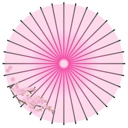 fukushima: Traditional  Japanese umbrella isolated on white Illustration