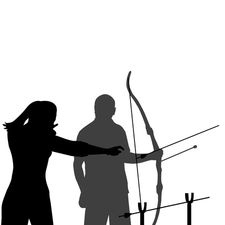 the instructor: A female instructor teaching a man how to shoot bow Illustration