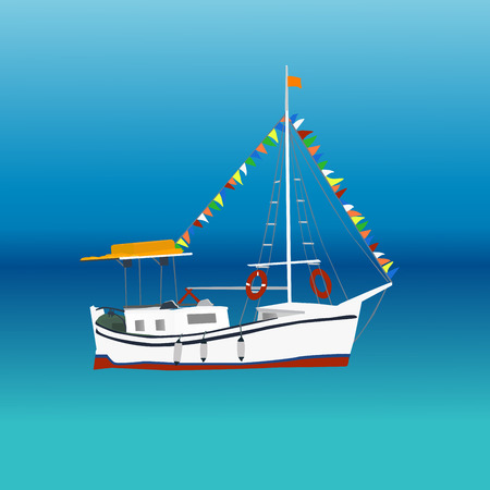 masts: Sailing ship with colorful bunting strung across the masts