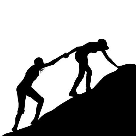 escalando: Siluetas de muchacha que da la mano a su amiga para subir el último tramo de la montaña