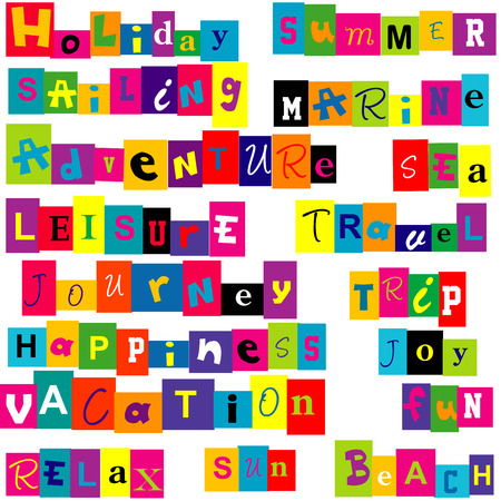 relate: Colorful  words  relate with summer and holiday