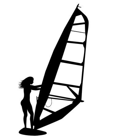 windsurfing: Silueta de la mujer windsurf