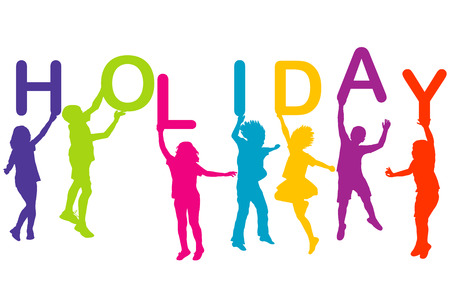 relaxing: Children silhouettes holding colored letters building the  word Holiday