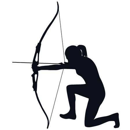 girls with bows: Silhouette of a female archer with bow and arrow Illustration
