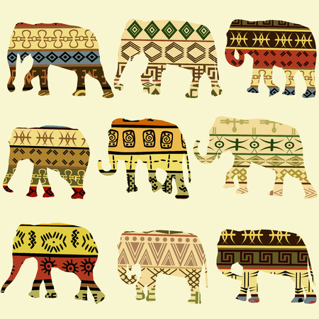 paper old: Background with stylized patterned elephants in ethnic style Illustration