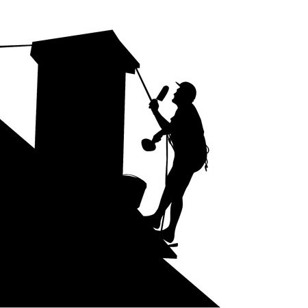 roofer: Silhouette of worker on the house roof