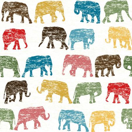 siluetas de elefantes: sin fisuras retro grunge con siluetas de los elefantes