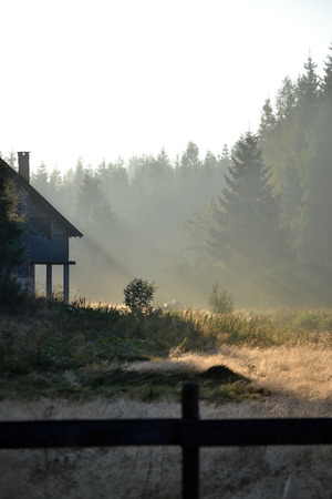 medow: Foggy landscape with cottage in the mountains at the summer morning Stock Photo