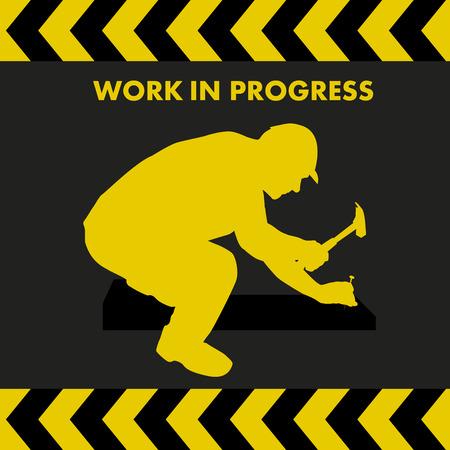 LAVORI IN CORSO segno con lavoratore silhouette con martello e chiodo Archivio Fotografico - 45243298