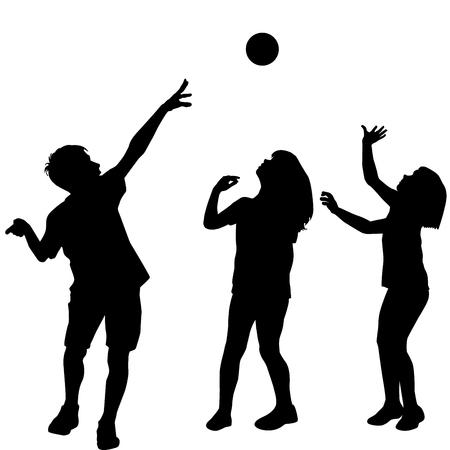 niños jugando: Siluetas de tres niños jugando con una pelota