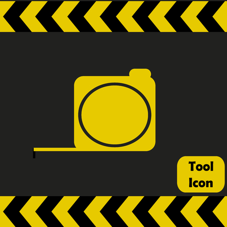 metallic tape: Tape measure icon,  repairing service tool sign Illustration