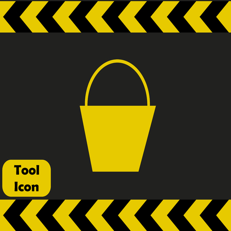 black yellow: Bucket icon,  repairing service tool sign
