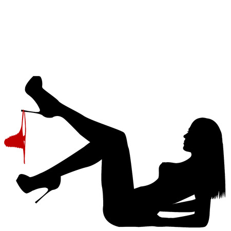 Woman sexy silhouette on the back with  panties hanging on her leg