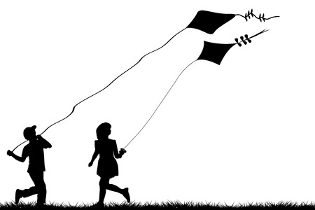 black kite: Silhouettes of children flying kites Illustration