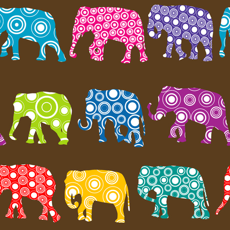 Colorful seamless pattern with ornate patterned elephants