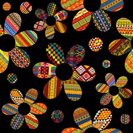 Naadloos patroon met etnische motieven gevormde bloemen op zwarte achtergrond