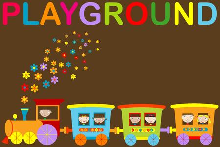 Playground announcement with cartoon train Illustration