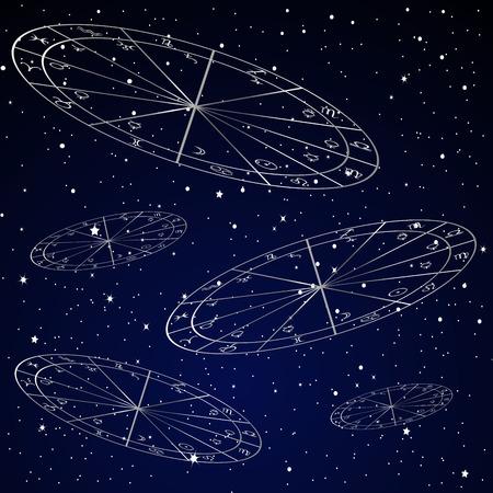 별이 빛나는 하늘 나탈 차트 점성술 배경