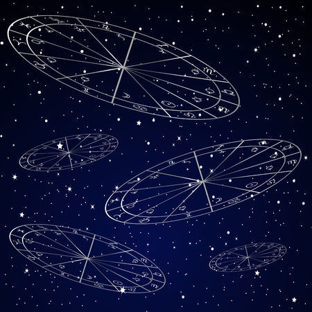 starry: Natal charts astrology background with starry sky